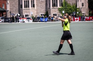 Brand umpiring the gold medal match at 2018 Nationals in Toronto, ON