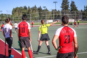 Brand umpiring a Canadian men's intrasquad game in West Vancouver