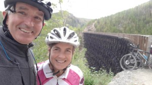 Clare and husband on Kettle Valley Tressles